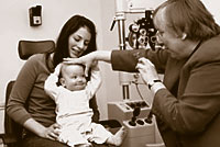 An infant should receive his or her first eye exam between the ages of 6 and 12 months.