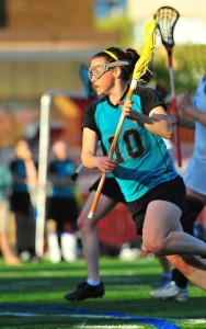Lacrosse Player with Protective Eyewear